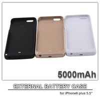 "5000mAh cell phone case power case for iphone 6 plus 5.5"" external battery power bank cell phone charger black white gold colors"