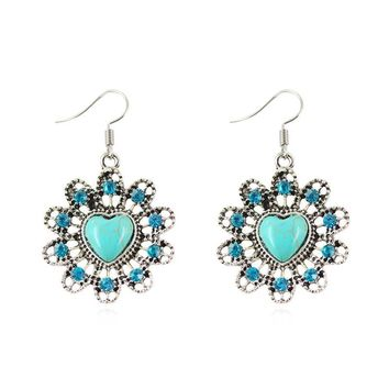 Famous Brand Jewelry Tibetan Silver Plated with Heart Turquoise Drop Dangle Earring for Women Party  Jiayiqi