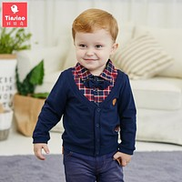 Tinsino Baby Boys Autumn Grid T-shirts Infant Plaid Sweatshirts Children Boy Spring Outerwear Clothes Kids Boy Tops Clothing