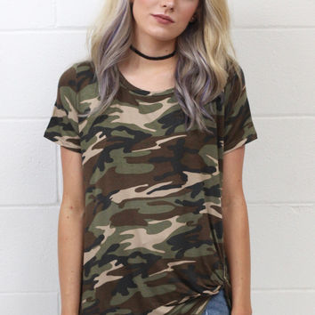 Camo Babe Get Twisted Short Sleeve Top {Olive Mix}