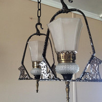 Vintage Pair Spanish Revival Hanging Lights 1920s Mission Arts and Crafts Virden Dog