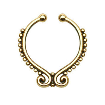 Beaded Line Swirl Ends Faux Septum Hanger