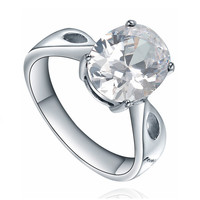 Stainless Steel Oval Cubic Zirconia Solitaire Ring