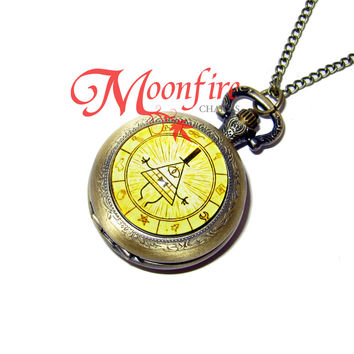 GRAVITY FALLS Bill Cipher Zodiac Small Pocket Watch Necklace
