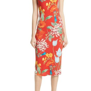 Alice + Olivia Delora Floral Sleeveless Body-Con Dress | Nordstrom