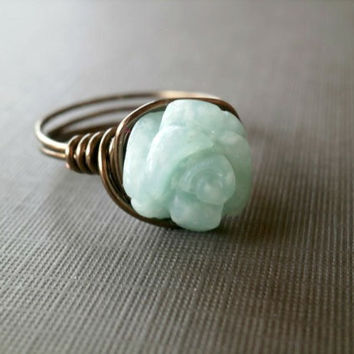 Amazonite Ring. Flower Ring. Gemstone Jewelry. Wire Wrapped Ring. Blue Ring. Blue and Brown Jewelry. Gemstone Ring Shabby Chic Gift Under 20