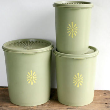 3 Vintage Avocado Green Tupperware Nesting Canisters - Kitchen Storage - Sugar Flour Canisters - Retro