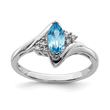 Sterling Silver Marquise Light Blue Topaz and Diamond Ring