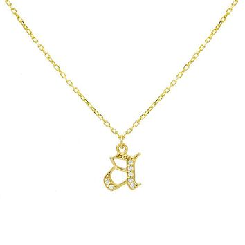 Gothic Initial Pavé Necklace