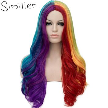 26inch Women's Rainbow LGBT WIG High Tempureture Fiber Full Head Synthetic Hair