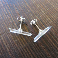 Tiny Quartz Crystal Stud Earrings Clear Raw Rough Natual Point Stone Post Ear Jewelry