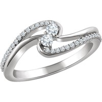 14kt White Gold 1/4 CTW Diamond Two Stone Promise Ring