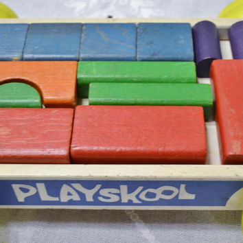 Vintage Playskool Wagon of Blocks Childrens Toy Wood Plastic Colored Building Blocks Pull Toy 1970s  PanchosPorch