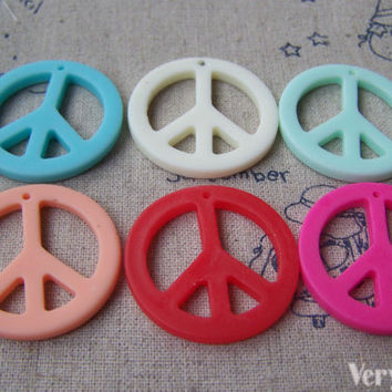 10 pcs Resin Peace Symbol Charms Cabochon 30mm Assorted Color A2980