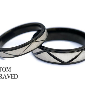 Couples Engraved Stainless Steel Rings - Personalized Couple Ring - Steel Engraved Wedding Bands -Anniversary Engraved His & Her Steel Rings