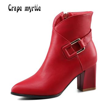 Plus size 34-42 women boots Fashion metal buckle high heels Ankle boots Autumn winter Warm Leather Martin boots shoes woman