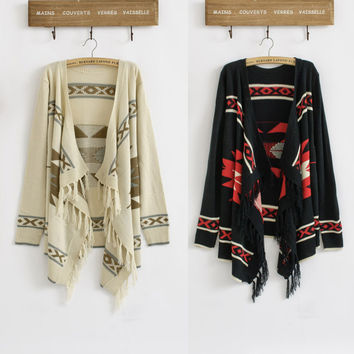 Vintage 70s Women Geometric Sweater Aztec Tribal Fringe Indian Gypsy Hippie Knitted Cardigan Jacket