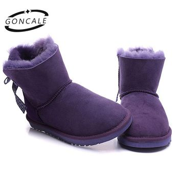 GONCALE Fashion women lace up winter snow boots real sheepskin leather nature fur lined winter flats shoes for girls