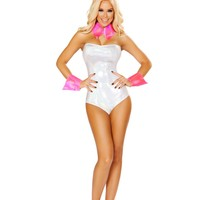 Bestselling Ladies Strapless Romper with Faux Fur Tail Bunny Halloween Costume