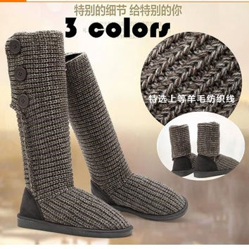 Bling Winter Knit Gray black camel Crocheted Knit Women's knee high Long boots winter boots Wool Knit Crochet = 1958312964