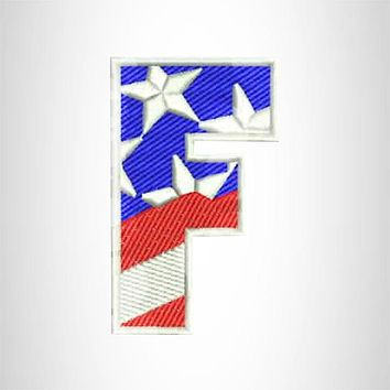 F Alphabet Letters of US Flag Iron on Small Patch for Biker Vest.