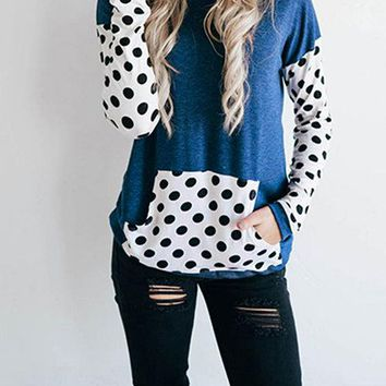 Casual Wave Point Pattern Hooded Front Pocket Long Sleeves Sweatshirt