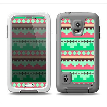 The Lime Green & Coral Tribal Ethic Geometric Pattern Samsung Galaxy S5 LifeProof Fre Case Skin Set