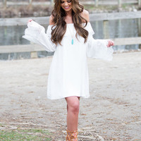 I Want It That Way White Off Shoulder Lace Dress