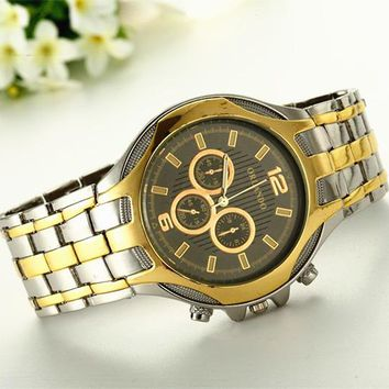 New Luxury stylish Analog Gold Silver Mix Stainless Steel Wristwatch