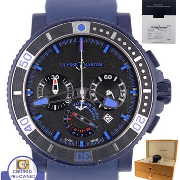 Ulysse Nardin Voyage Bleu Chronograph 353-98 45mm Black Blue Limited Watch