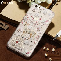 CASEIER 2017 Winter Phone Case For iPhone X 7 Plus Christmas 3D Painting Soft Silicone Cover For iPhone 8 Plus Cases Funda Shell