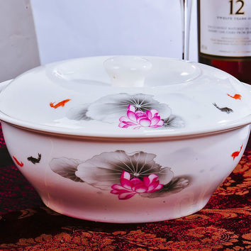 Chinese Style Bone Oval Tureens High Temperature Resistant Bigf Soup Bowls