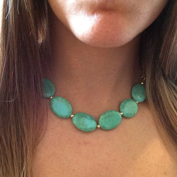 Chunky Necklace Statement, Teal Stone Statement Necklace, Turquoise Statement Necklace, Gold Statement Necklace