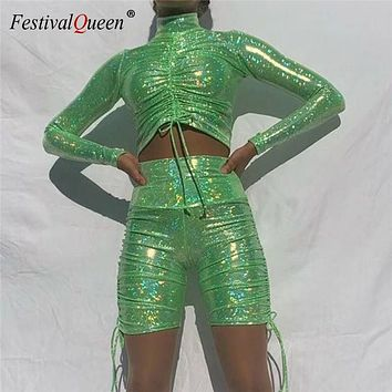 Bling Holographic Hot Stamping Two Piece Set Long Sleeve Turtleneck Crop Top Drawstring High Waist Shorts Sexy Ladies Outfits