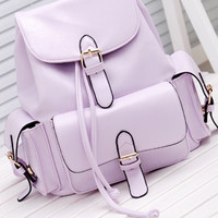 Foldover Buckled Backpack - Lavender