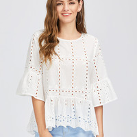 Fluted Sleeve Eyelet Embroidered Top | MakeMeChic.COM
