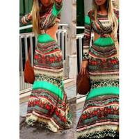 Bohemian Printed Cut Out Maxi Dress
