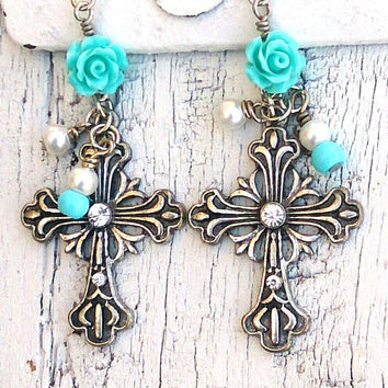 Cross Turquoise Rose Earrings Crystal Cross EaRrInGs Antique Silver Religious Jewelry