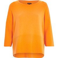River Island Womens Orange 3/4 sleeve ribbed detail top