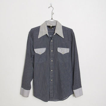 Men's Vintage Sears Western Wear Shirt / Navy Blue & White Striped Button-down w/ Pearl Snaps