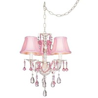 Pretty in Pink Swag Style Plug-In Mini Chandelier - #27319 | LampsPlus.com