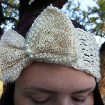 Free Shipping! Knitted Ivory Beige Headband Ear warmer Head Wrap, Ear Warmer Accessories Handmade