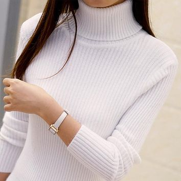 2017 Autumn winter womens wool sweaters and Pullovers plus size turtleneck sweater vintage loose cashmere sweater feminino