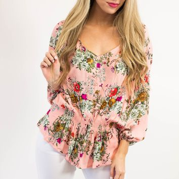 Marley Floral Button Top | Pink