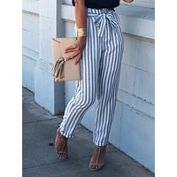 Straight and Narrow Waist Tie Stripe Pants