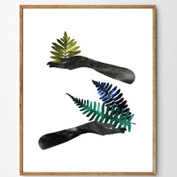 In the Herbary - Giclee Art Print, painting, watercolor, ferns