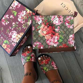 Gucci Floral Print Sandal Slipper Shoes