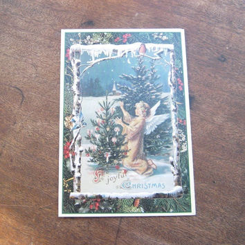Set of 12 Victorian Angel Repro Christmas Cards with Bible Quotes/Envelopes - Angel with Deer Christmas Card; Angels with Victorian Toys