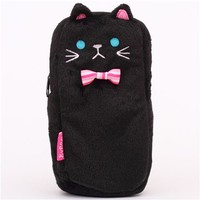 funny black cat plush pencil case from Japan - Pencil Cases - Stationery
