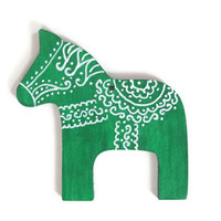 Dala Horse Christmas ornament in emerald green with white hand painted designs Scandinavian wood holiday ornament